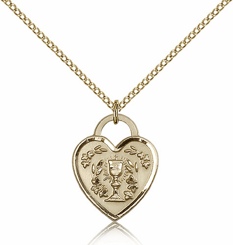 Bliss Mfg Engraveble 14kt Gold-filled Communion Heart Medal Necklace