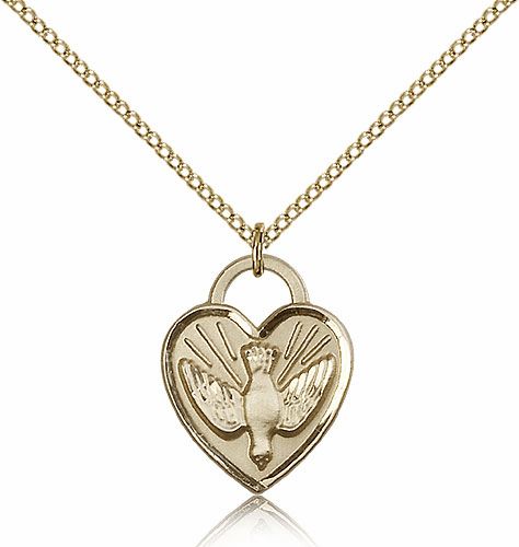Bliss Mfg Engraveble 14kt Gold-filled Confirmation Holy Spirit Dove Heart Medal Necklace