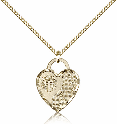 Bliss Mfg Engraveble 14kt Gold-filled Footprints Heart Medal Necklace