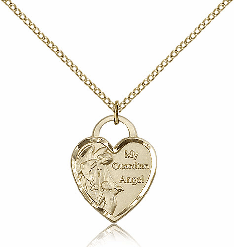 Bliss Mfg Engraveble 14kt Gold-filled Guardian Angel Medal Necklace