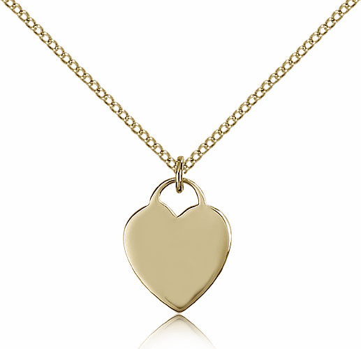 Bliss Mfg Engraveble 14kt Gold-filled Heart Medal Necklace