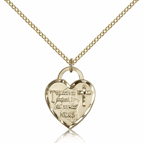 Bliss Mfg Engraveble 14kt Gold-filled Lord is my Shepherd Heart Medal Necklace