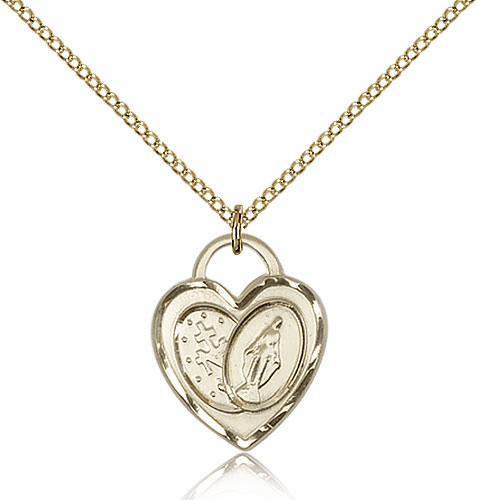 Bliss Mfg Engraveble 14kt Gold-filled Miraculous Heart Medal Necklace