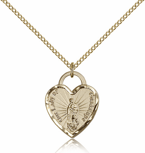 Bliss Mfg Engraveble 14kt Gold-filled Our Lady of Guadalupe Heart Medal Necklace
