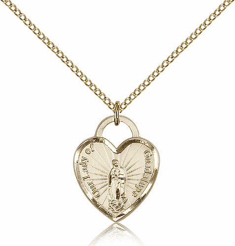 Bliss Mfg 14kt Gold-filled Our Lady of Guadalupe Heart Recuerdo Heart Medal Necklace