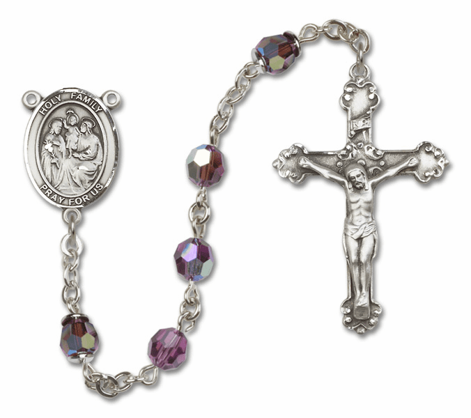 Bliss Mfg Fancy Holy Family Sterling Silver Amethyst Swarovski Rosary