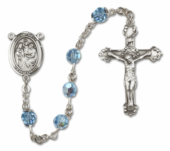 Bliss Mfg Fancy Holy Family Sterling Silver Aqua Swarovski Rosary