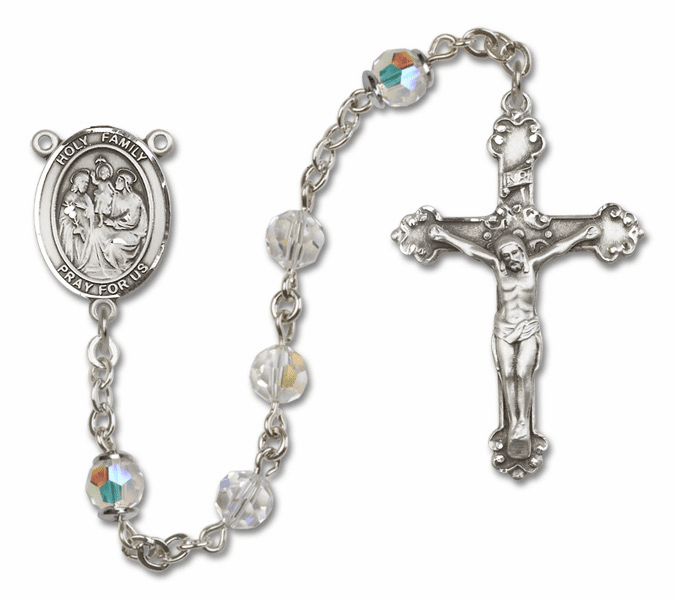 Bliss Mfg Fancy Holy Family Sterling Silver Crystal Swarovski Rosary