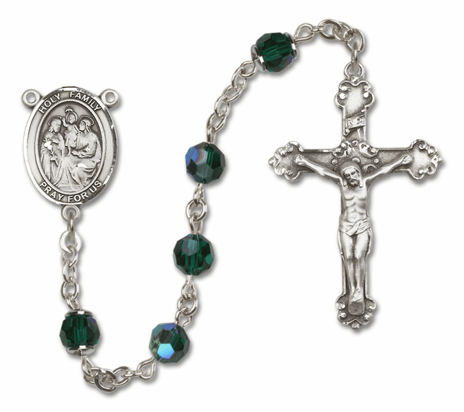 Bliss Mfg Fancy Holy Family Sterling Silver Emerald Swarovski Rosary