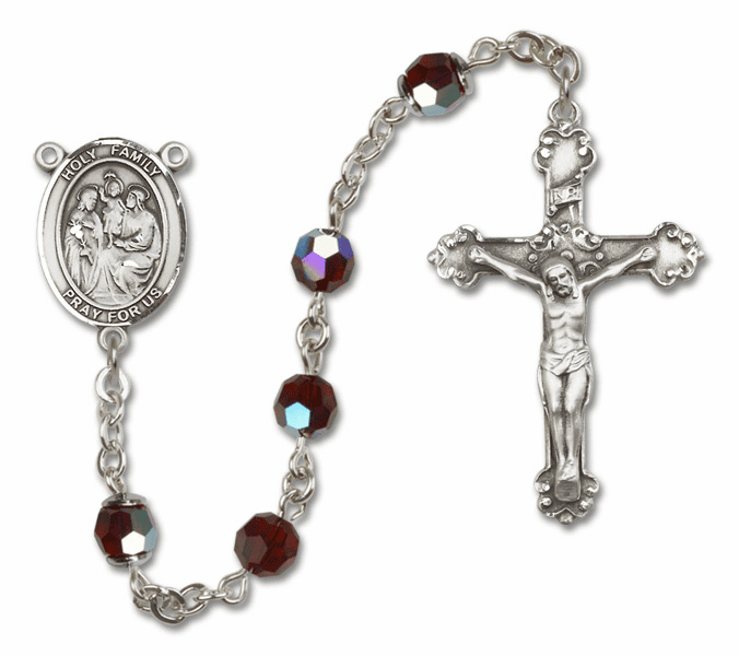 Bliss Mfg Fancy Holy Family Sterling Silver Garnet Swarovski Rosary