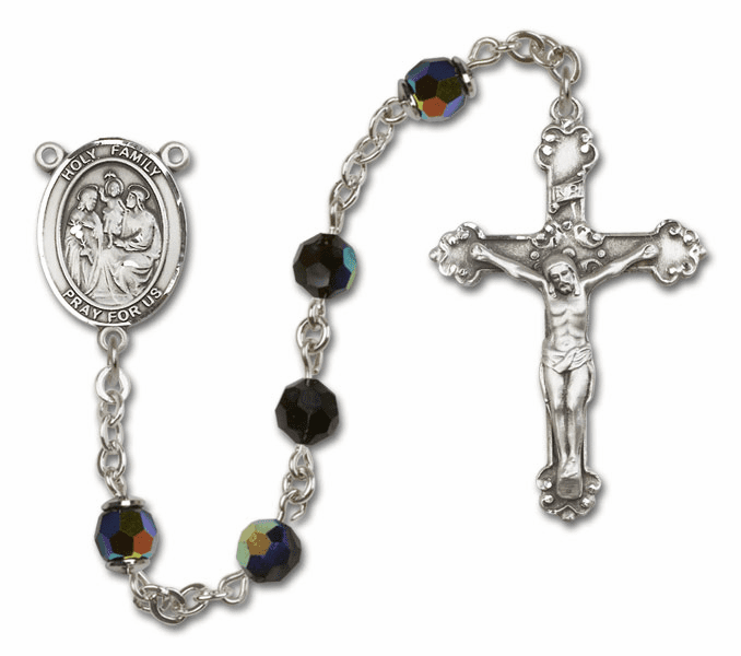 Bliss Mfg Fancy Holy Family Sterling Silver Jet Black Swarovski Rosary
