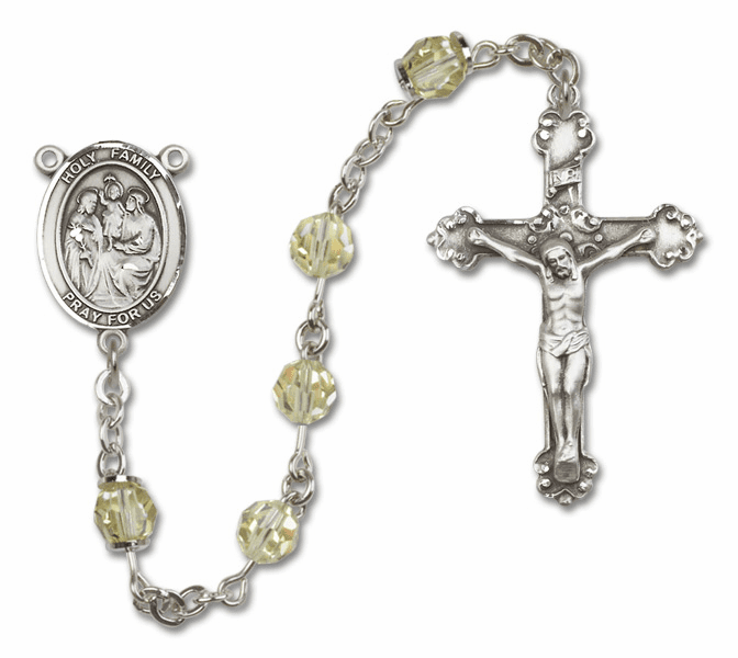 Bliss Mfg Fancy Holy Family Sterling Silver Jonquil Swarovski Rosary