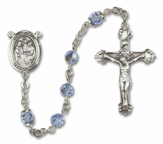 Bliss Mfg Fancy Holy Family Sterling Silver Lt Sapphire Swarovski Rosary