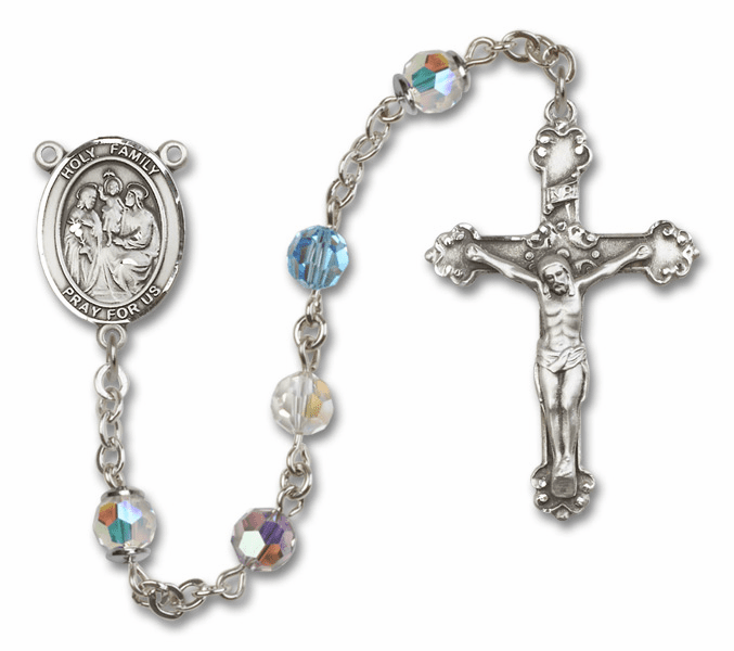 Bliss Mfg Fancy Holy Family Sterling Silver Multi-Color Swarovski Rosary