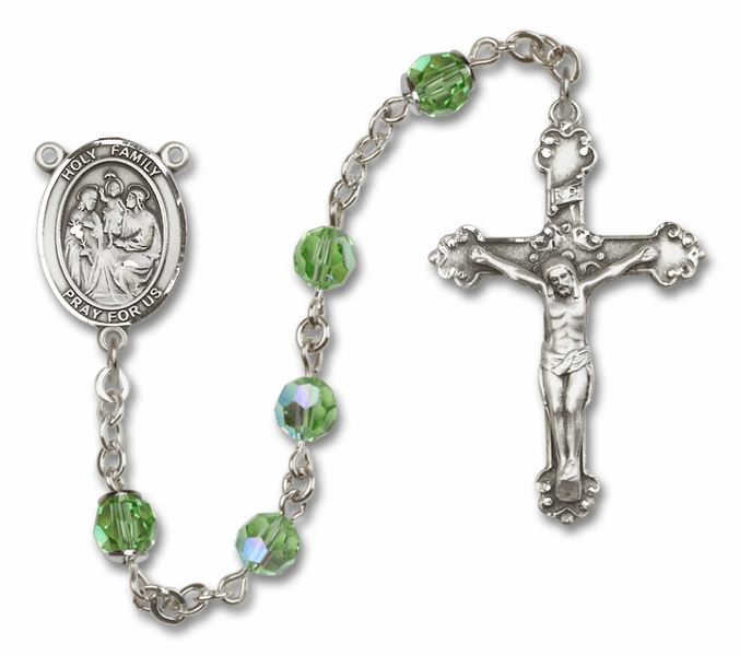 Bliss Mfg Fancy Holy Family Sterling Silver Peridot Swarovski Rosary