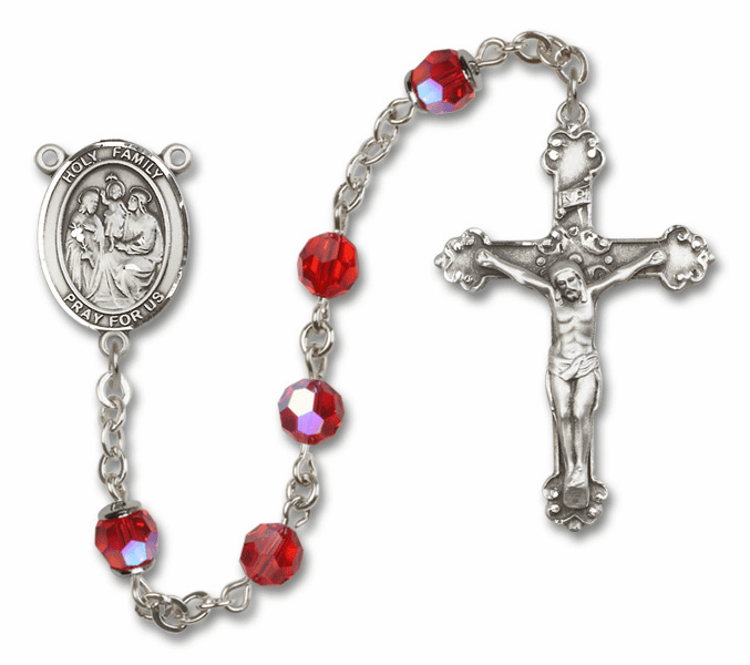 Bliss Mfg Fancy Holy Family Sterling Silver Ruby Swarovski Rosary