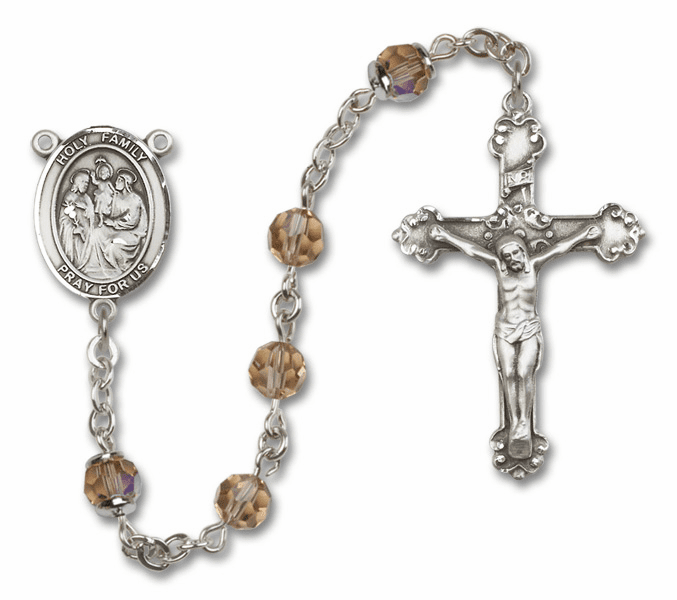 Bliss Mfg Fancy Holy Family Sterling Silver Topaz Swarovski Rosary