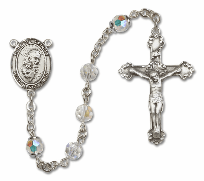 Bliss Mfg Fancy Holy Trinity Sterling Silver Crystal Swarovski Rosary
