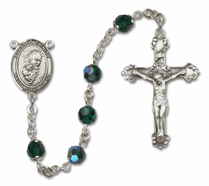 Bliss Mfg Fancy Holy Trinity Sterling Silver Emerald Swarovski Rosary