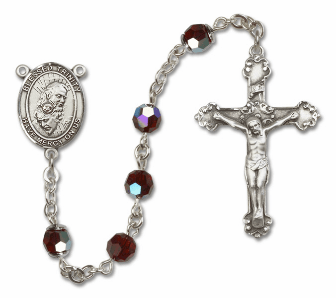 Bliss Mfg Fancy Holy Trinity Sterling Silver Garnet Swarovski Rosary