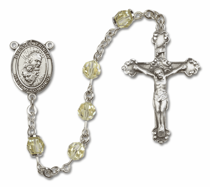 Bliss Mfg Fancy Holy Trinity Sterling Silver Jonquil Swarovski Rosary