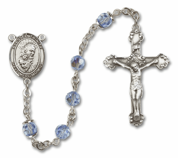 Bliss Mfg Fancy Holy Trinity Sterling Silver Lt Sapphire Swarovski Rosary