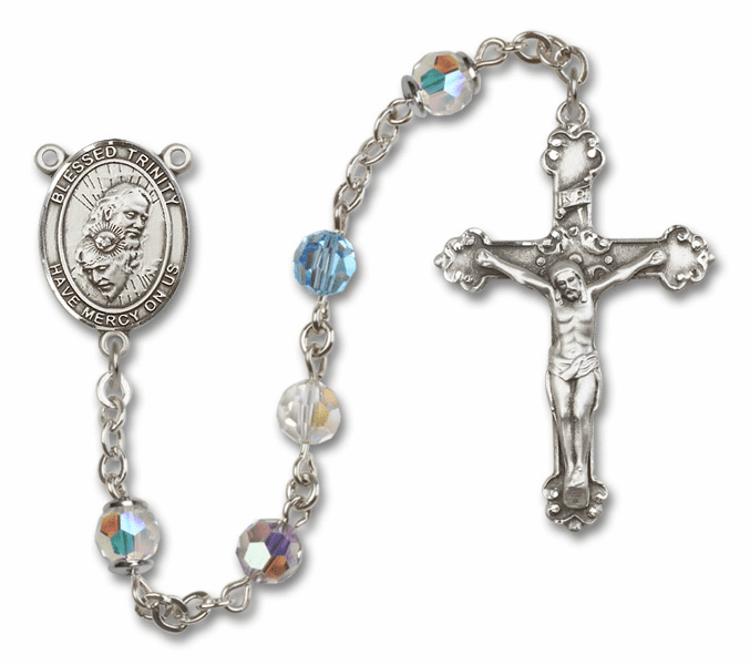 Bliss Mfg Fancy Holy Trinity Sterling Silver Multi-Color Swarovski Rosary