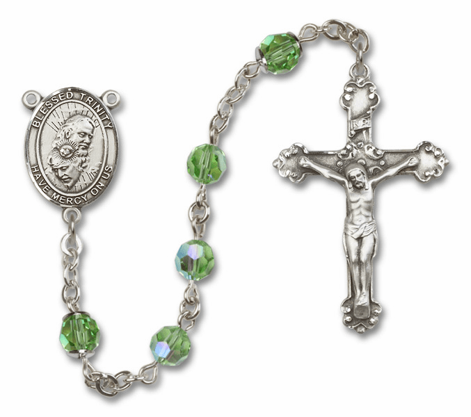 Bliss Mfg Fancy Holy Trinity Sterling Silver Peridot Swarovski Rosary