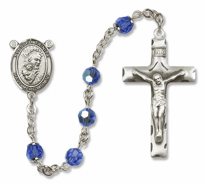 Bliss Mfg Fancy Holy Trinity Sterling Silver Sapphire Swarovski Rosary