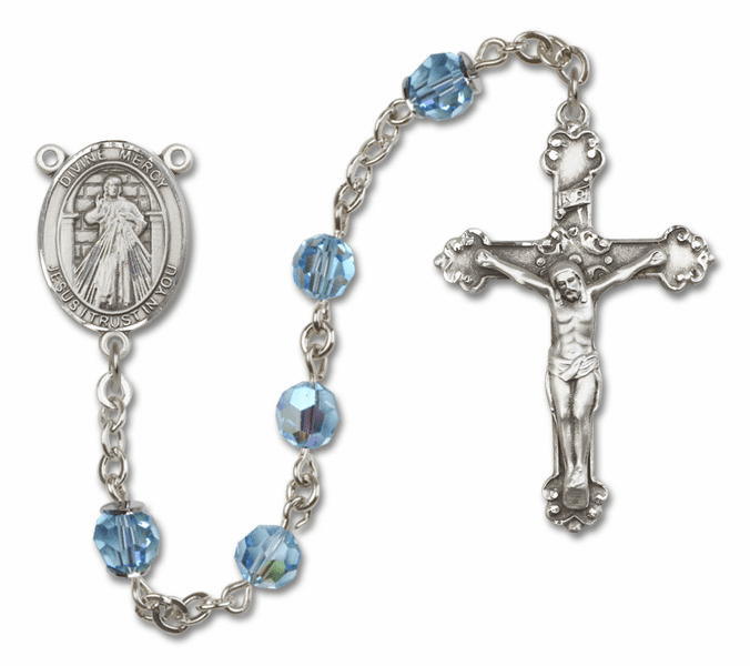 Bliss Mfg Fancy Jesus Divine Mercy Sterling Silver Aqua Swarovski Rosary
