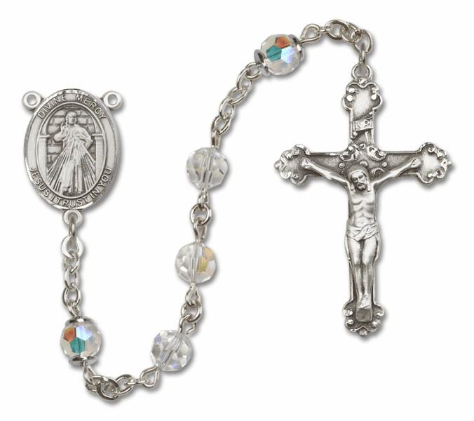Bliss Mfg Fancy Jesus Divine Mercy Sterling Silver Crystal Swarovski Rosary