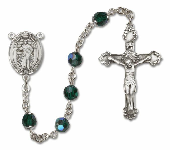 Bliss Mfg Fancy Jesus Divine Mercy Sterling Silver Emerald Swarovski Rosary