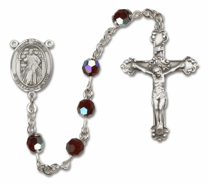 Bliss Mfg Fancy Jesus Divine Mercy Sterling Silver Garnet Swarovski Rosary