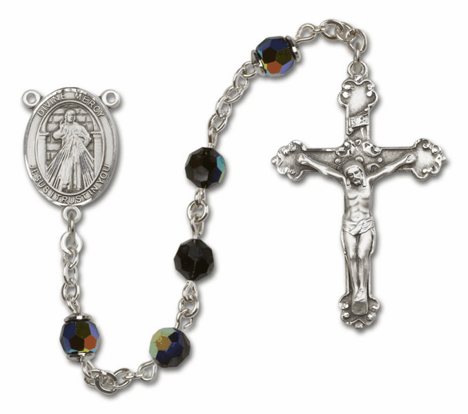 Bliss Mfg Fancy Jesus Divine Mercy Sterling Silver Jet Black Swarovski Rosary