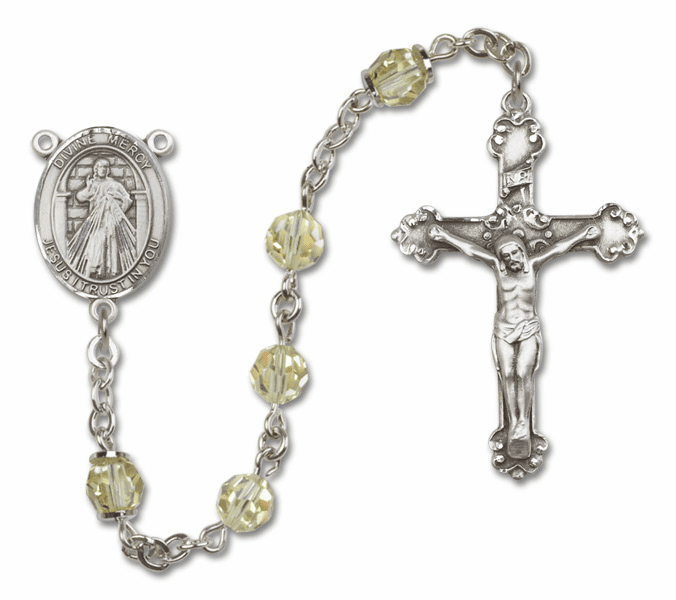 Bliss Mfg Fancy Jesus Divine Mercy Sterling Silver Jonquil Swarovski Rosary