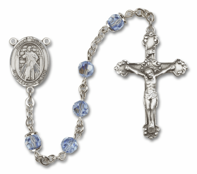 Bliss Mfg Fancy Jesus Divine Mercy Sterling Silver Lt Sapphire Swarovski Rosary