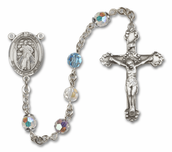Bliss Mfg Fancy Jesus Divine Mercy Sterling Silver Multi-Color Swarovski Rosary
