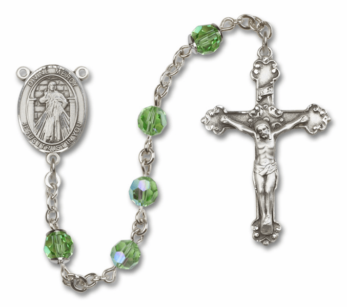Bliss Mfg Fancy Jesus Divine Mercy Sterling Silver Peridot Swarovski Rosary