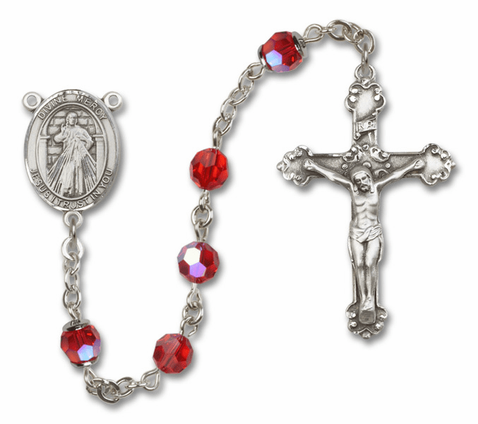 Bliss Mfg Fancy Jesus Divine Mercy Sterling Silver Ruby Swarovski Rosary