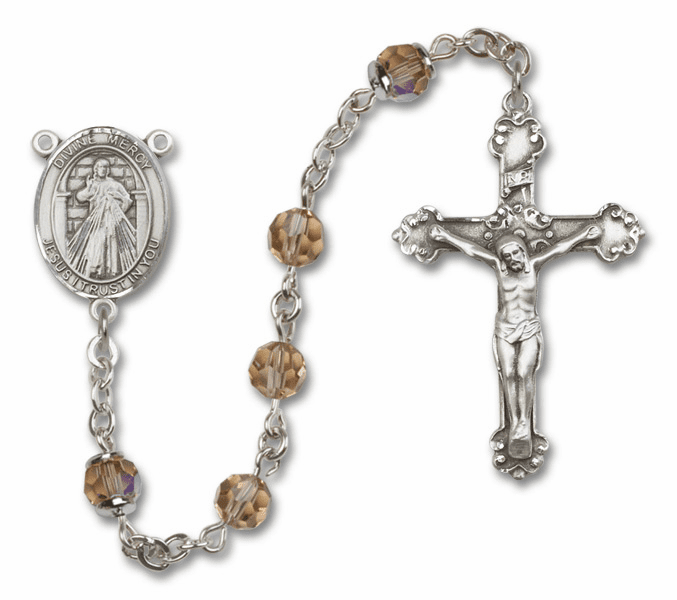 Bliss Mfg Fancy Jesus Divine Mercy Sterling Silver Topaz Swarovski Rosary