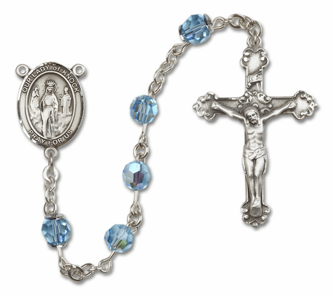 Bliss Mfg Fancy Our Lady of Knock Sterling Silver Aqua Swarovski Rosary