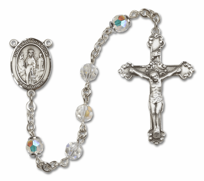 Bliss Mfg Fancy Our Lady of Knock Sterling Silver Crystal Swarovski Rosary