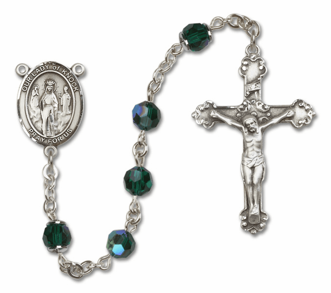 Bliss Mfg Fancy Our Lady of Knock Sterling Silver Emerald Swarovski Rosary