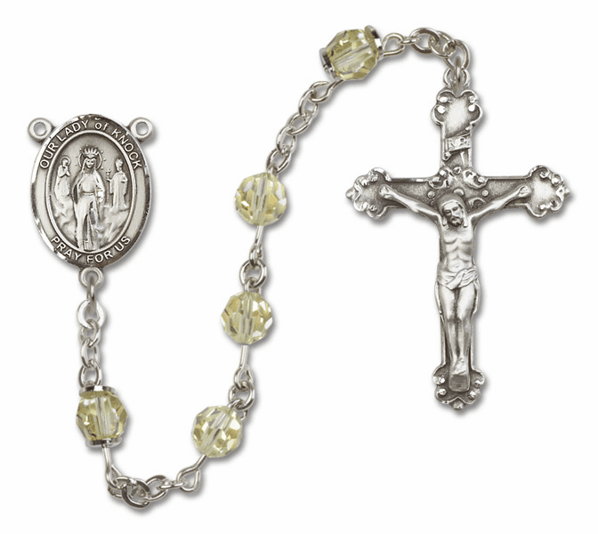 Bliss Mfg Fancy Our Lady of Knock Sterling Silver Jonquil Swarovski Rosary