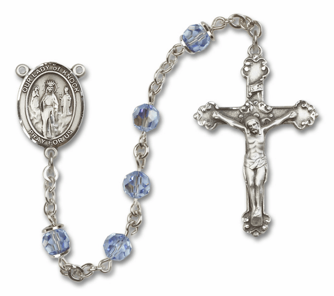 Bliss Mfg Fancy Our Lady of Knock Sterling Silver Lt Sapphire Swarovski Rosary