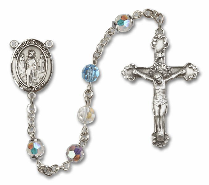 Bliss Mfg Fancy Our Lady of Knock Sterling Silver Multi-Color Swarovski Rosary