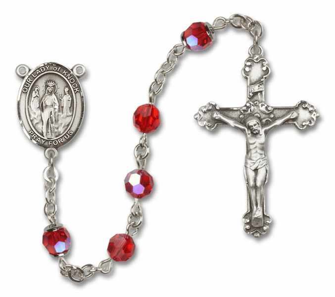Bliss Mfg Fancy Our Lady of Knock Sterling Silver Ruby Swarovski Rosary