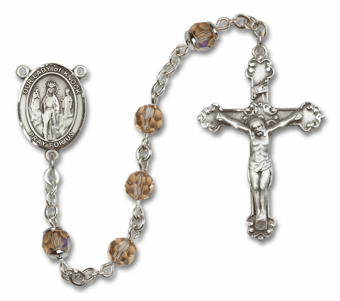 Bliss Mfg Fancy Our Lady of Knock Sterling Silver Topaz Swarovski Rosary