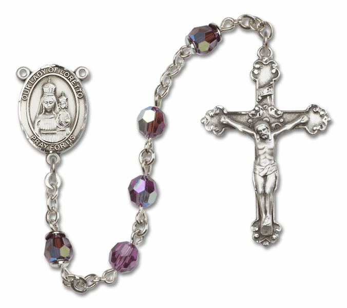 Bliss Fancy Our Lady of Loretto Sterling and Gold Amethyst Swarovski Rosaries
