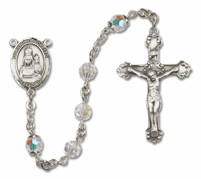 Bliss Fancy Our Lady of Loretto Sterling and Gold Crystal Swarovski Rosaries